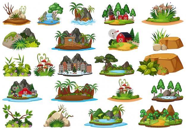 Zbiór różnych roślin i krajobrazów
