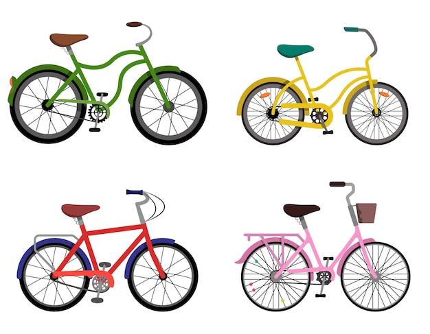 Zbiór różnych rowerów. rowery miejskie w płaskim stylu.