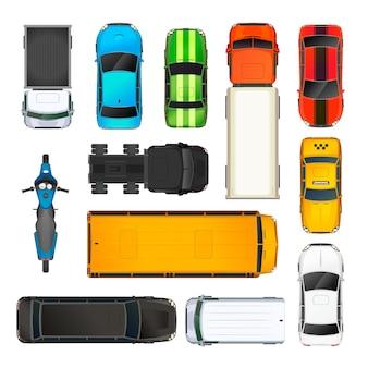 Zbiór różnych samochodów widok z góry, na białym tle