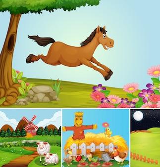 Zbiór różnych scen gospodarskich w stylu cartoon zwierząt gospodarskich