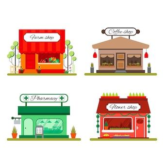 Zbiór różnych sklepów w stylu mieszkania: sklep z artykułami rolnymi, kawa i kwiaciarnia - ilustracja zapasów. elementy plansza. ikona rynku z gablotami na białym tle.
