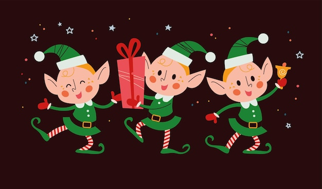 Zbiór różnych ślicznych małych znaków elfów santa z pudełko, dzwonek, taniec na białym tle. ilustracja kreskówka płaski wektor. na kartki świąteczne, wzory, banery, naklejki.
