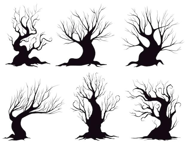 Zbiór różnych sylwetki drzew fantasy na białym tle.