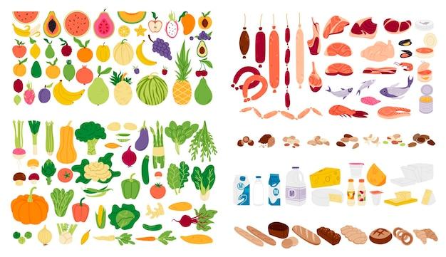 Zbiór różnych towarów spożywczych w prostej płaskiej konstrukcji