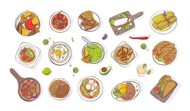 Zbiór Różnych Tradycyjnych Dań Meksykańskich - Burrito, Quesadilla, Tacos, Nachos, Fajita, Guacamole Premium Wektorów
