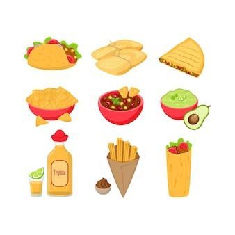 Zbiór różnych tradycyjnych meksykańskich ilustracji żywności na białym tle. tacos, tamales, quesadila, chili con carne, guacamole, tequila, churos, burrito.