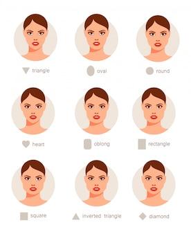 Zbiór różnych twarzy kobiety.