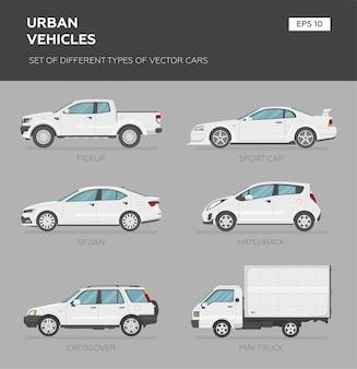 Zbiór różnych typów samochodów wektorowych