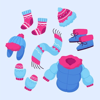 Zbiór różnych ubrań zimowych