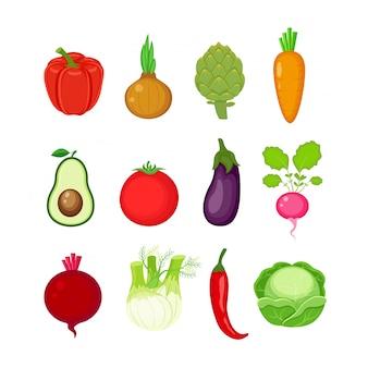 Zbiór różnych warzyw w stylu płaski.