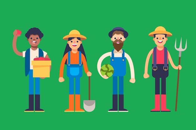 Zbiór różnych wyposażonych rolników