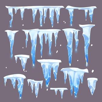 Zbiór różnych zimnych sopli