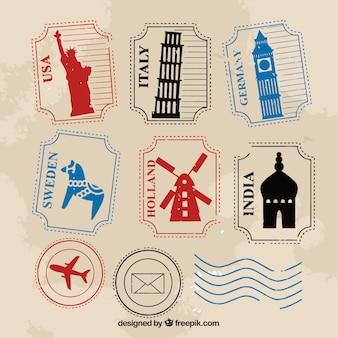 Zbiór różnych znaczków podróży