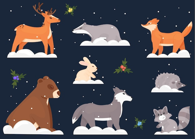 Zbiór różnych zwierząt w śniegu na białym tle na ciemny niebieski