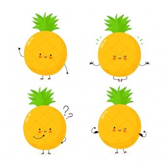 Zbiór ślicznych owoców szczęśliwy zabawny ananas. postać z kreskówki ilustracyjny ikona projekt. pojedynczy białe tło
