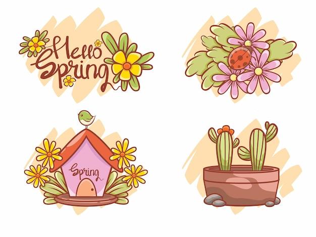 Zbiór ślicznych wiosennych ilustracji. postać z kreskówki i ilustracja koncepcja