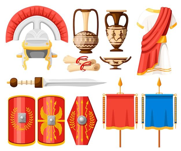 Zbiór starożytnych rzymskich ikon. ubrania, gladius, scutum, zwoje i ceramiczna zastawa stołowa. ilustrator na białym tle