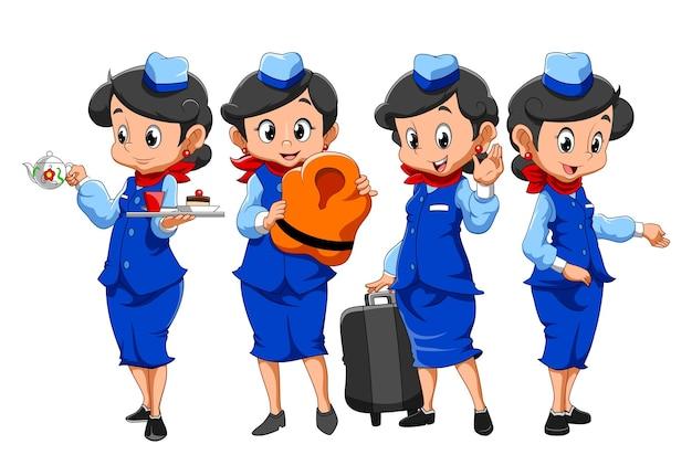 Zbiór stewardes wykonujących pracę ilustracyjną