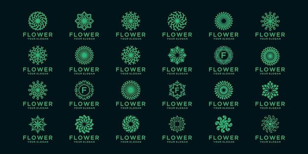 Zbiór streszczenie logo kwiatowy i ikony