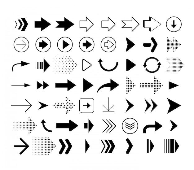 Zbiór strzałek o różnych kształtach. zestaw ikon strzałki