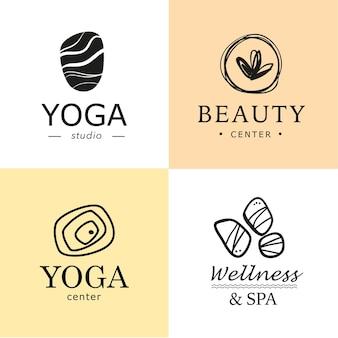 Zbiór symboli jogi, piękna i spa w jasnych kolorach na białym tle.