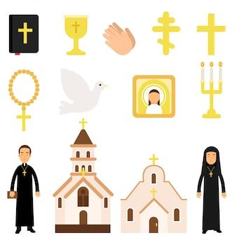 Zbiór symboli religijnych i przedmiotów w stylu płaski. biblia, ikona, krzyże, świece, gołębica, duchowni, świątynie. ilustracja kreskówka