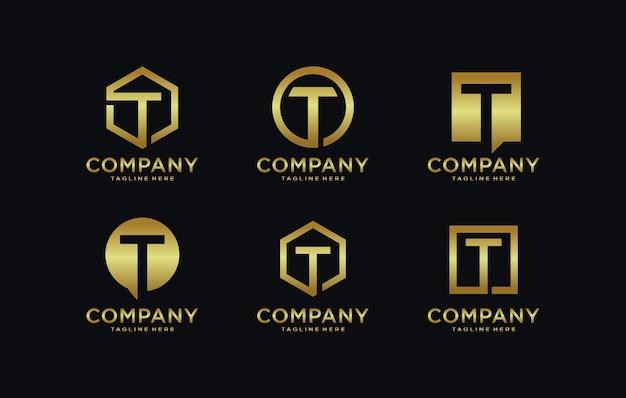 Zbiór szablonów logo litera t.