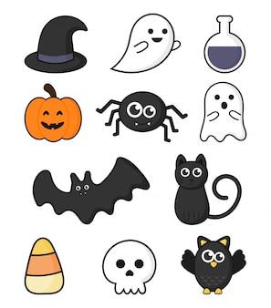 Zbiór szczęśliwych halloween ikon ustaw na białym tle.
