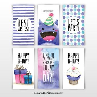 Zbiór sześciu kart urodziny akwarela