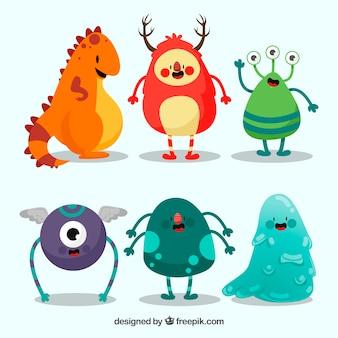 Zbiór sześciu różnych potworów