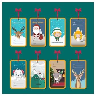 Zbiór tagów świątecznych na prezenty