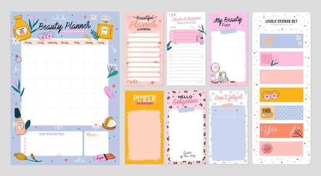 Zbiór terminarza tygodniowego lub dziennego, papier notatkowy, lista rzeczy do zrobienia, ozdobne szablony naklejek