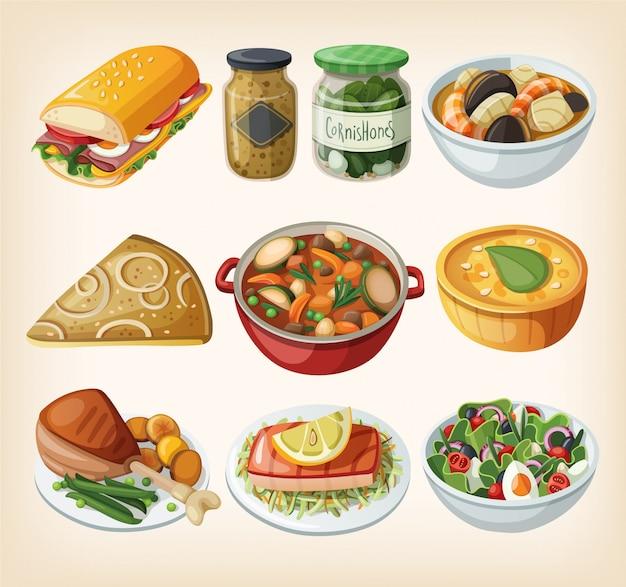 Zbiór tradycyjnych francuskich dań obiadowych. ilustracje