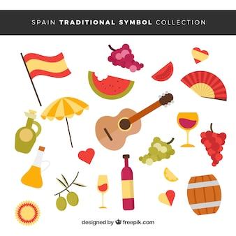 Zbiór tradycyjnych hiszpańskich symboli