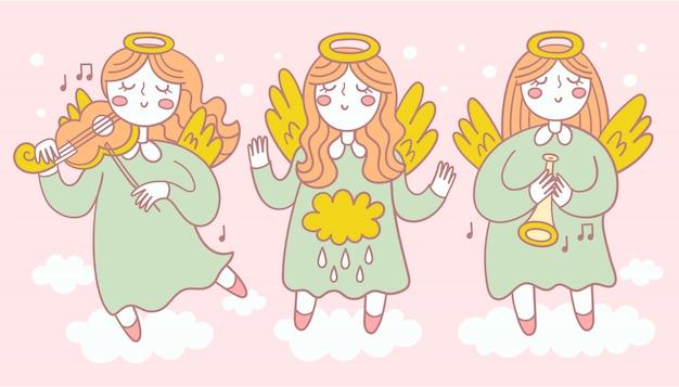 Zbiór trzech pięknych aniołów w różnych pozach