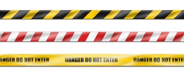 Zbiór trzech zagrożeń w białe i czerwone paski wstążki, taśma ostrzegawcza znaków ostrzegawczych.