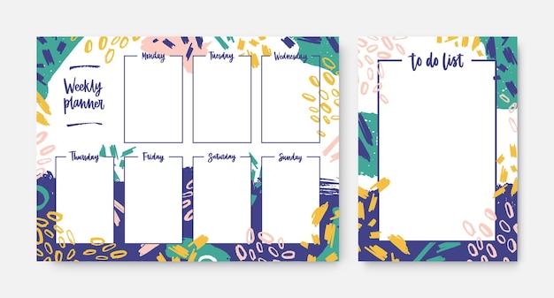 Zbiór tygodniowych terminarzy i szablonów list rzeczy do zrobienia z ramką ozdobioną jasnymi pociągnięciami pędzla i bazgrołami. planowanie codziennych zadań i spotkań. nowoczesna ilustracja kreatywnych.