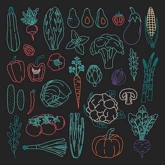 Zbiór warzyw konspektu w stylu bazgroły. pakiet ręcznie rysowane świeże dania wegetariańskie, z kolorowym konturem.