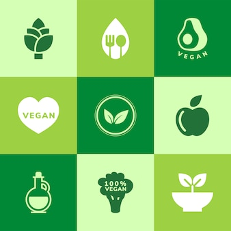 Zbiór wegańskich wektorów ikon