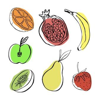 Zbiór wektor doodle owoce jabłko gruszka banan pomarańczowy granat kiwi i truskawka