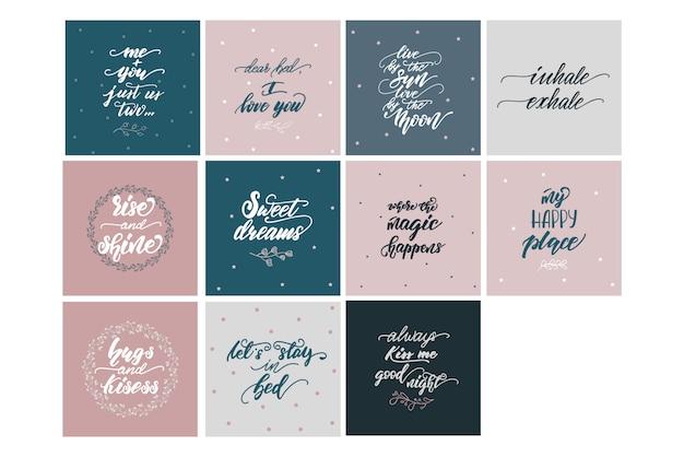 Zbiór wektor napis frazy do sypialni plakaty.