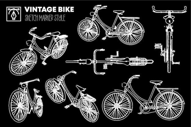 Zbiór widoków na białym tle zabytkowych rowerów. rysunki efektów markera. edytowalne kolorowe sylwetki.