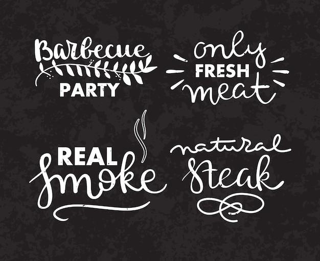 Zbiór wyciągnąć rękę tekst z grilla, kiełbasy, kurczak, frytki, steki, ryby