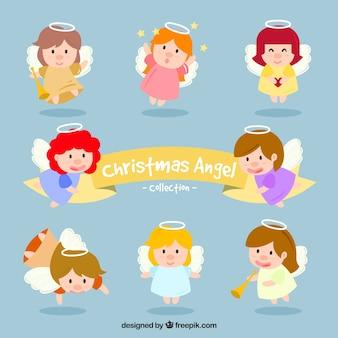Zbiór zabawnych aniołów christmas znaków