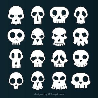 Zbiór zabawnych białych czaszek
