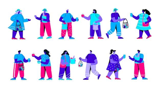 Zbiór zabawnych chłopców i dziewcząt gospodarstwa torby sznurek płaski niebieski ludzie znaków