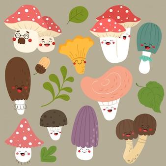 Zbiór zabawnych grzybów.