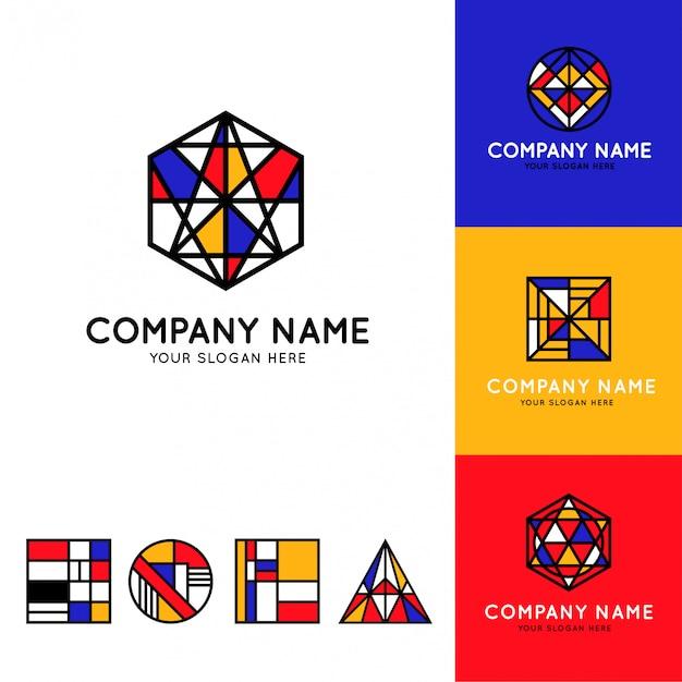 Zbiór zabawnych i kolorowych logo bauhausu
