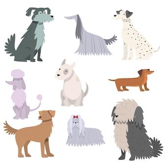 Zbiór zabawnych ilustracji kreskówek z różnymi rasami psów.