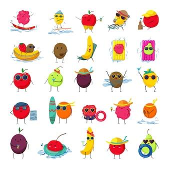 Zbiór zabawnych kreskówek kolorowych owoców